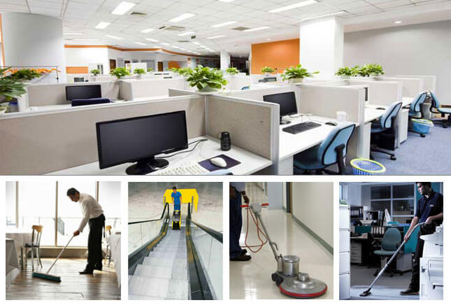 Commercial Cleaners Working Neatly Cleaned Offices