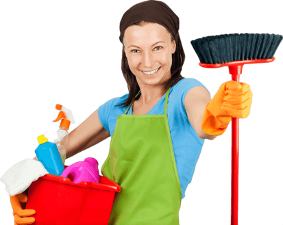 Commercial Cleaning Auckland |Lady With Broom And Cleaning Equipments